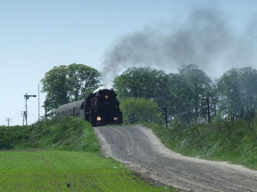 parowóz OL49, trasa Wolsztyn - Poznań, okolice Szreniawy, 25.04.2009 #kolej #kolejnictwo #lokomotywa #lokomotywy #OL49 #parowozy #parowóz #PKP #pociąg #PojazdySzynowe #Szreniawa