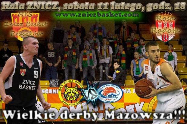 Plakat zapowiadający spotkanie I ligi koszykówki mężczyzn pomiędzy drużynami MKS Znicz Basket Pruszków i Rosa Radom #ZniczBasket #Pruszków #koszykówka #ILiga #PZKosz #kosz #basket #Rosa #Radom