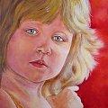 """""""Portret dziewczynki"""" akryl na płótnie; werniksowany; rok 2012; (w kolekcji prywatnej ) #malarstwo #akryl #portret #kolory #obraz"""