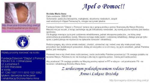 Maria Brzóska - http://pomagamy.dbv.pl/ #Apel #ChoreDzieci #darowizna #schorzenie #OpiekaRehabilitacyjna #Fiedziuszko #fundacja #PomocCharytatywna #PomocDzieciom #PomocnaDłoń #rehabilitacja #sponsor #sponsoring #BrzóskaMariaAnna #MarysiaBrzóska